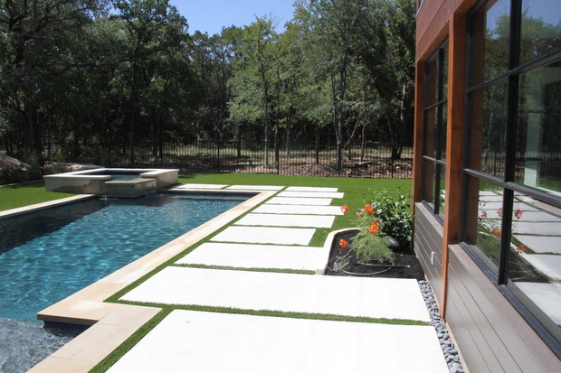 Contemporary Pool In Austin Square Hot Tub Attached To