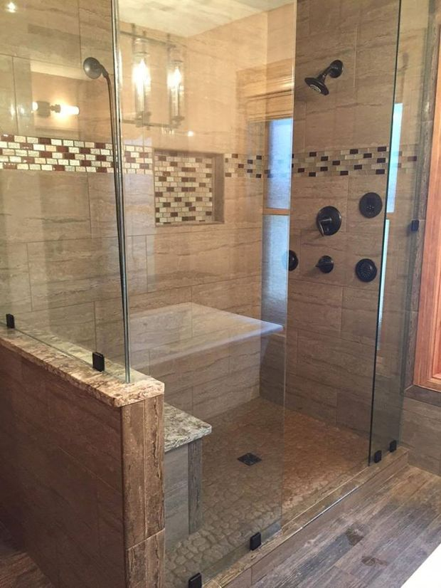 Transitional Bathroom In Oklahoma City Tiled Niche Oil Rubbed Bronze Finish By Kb Gallerie