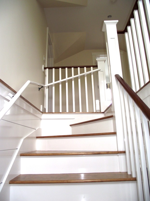 Arts Crafts Staircase In Nantucket Stained Wood Stair