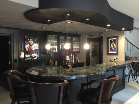 Traditional Basement with bar stools with back and arms