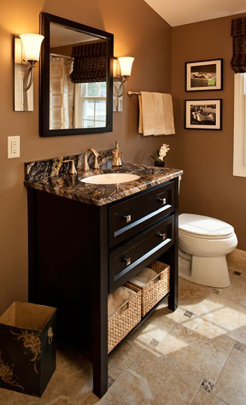 Traditional Bathroom with brown and black marble counter top