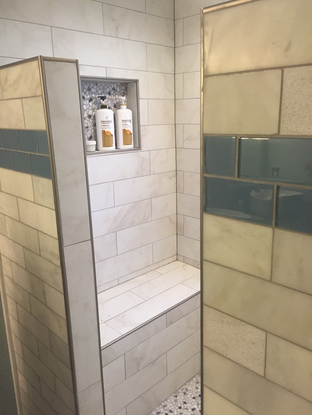 Transitional Bathroom In Castle Rock Shower Bench Tiled