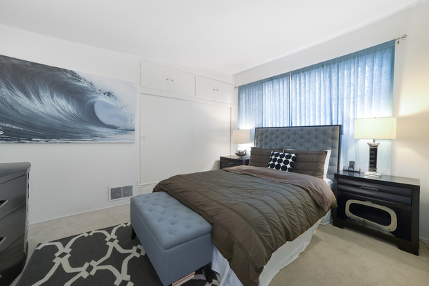 Modern bedroom in el segundo full size bed white painted walls by design order Kitchen design center el segundo