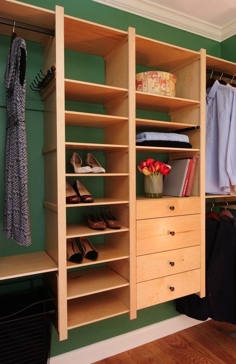 Contemporary Closet with floating buit-in closet