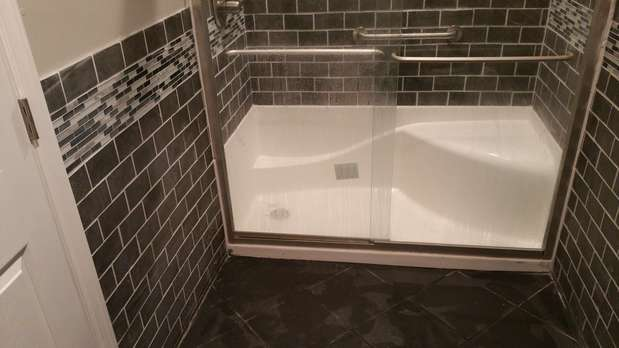 Contemporary bathroom in philadelphia black subway tile for Bathroom tile philadelphia