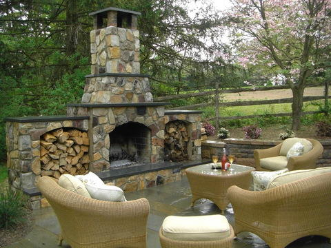 Traditional Patio with overstuffed outdoor furniture