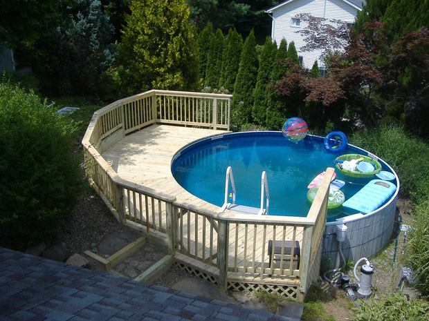 Casual comfortable pool in wingdale half circle deck for Pool design regrets