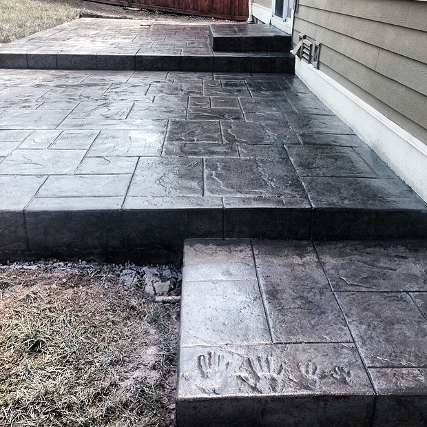 Stamped Concrete Siding : Contemporary patio in takoma grey siding multi level