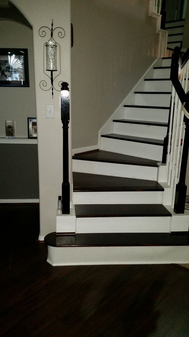 Transitional Staircase With White Spindles In Stair Railing