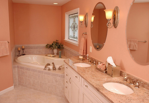 Eclectic Bathroom with pink hued ceramic tile
