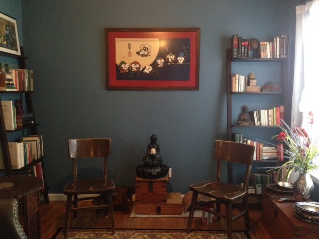Eclectic Library With Benjamin Moore Azurite Painted Wall