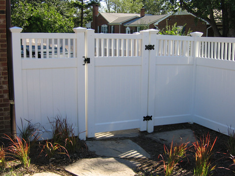 Modern Landscape with modern picket top fence