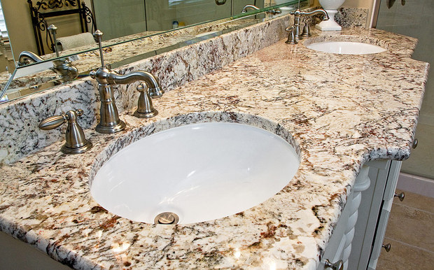 English Bathroom In Elk Grove Village Frameless Mirror Granite Counter Top By De Paula