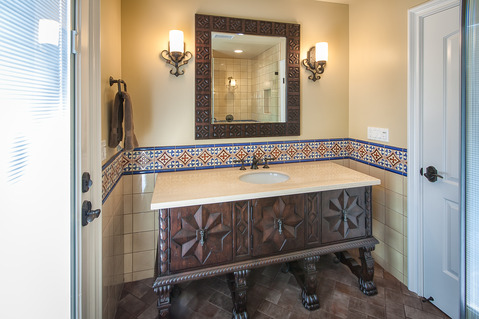 Eclectic Bathroom with herringbone pattern floor tile