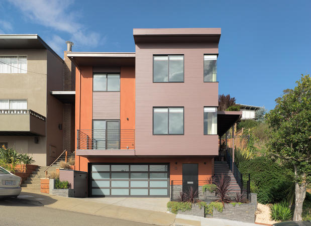 Contemporary Home Exterior In San Francisco Sloped Landscape Two Car Garage By Rossington