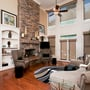 Transitional Fireplace with floating stacked stone mantel