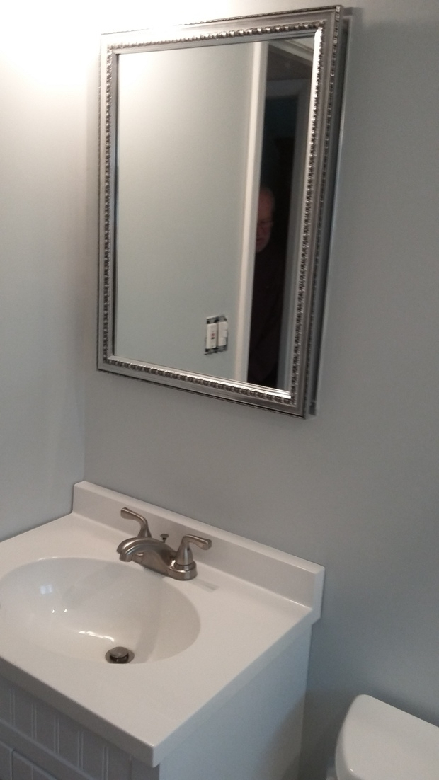 Transitional Bathroom In Bristol White Sink And Countertop Silver Framed Vanity Mirror By