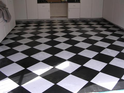 Eclectic Garage with faux black and white tile