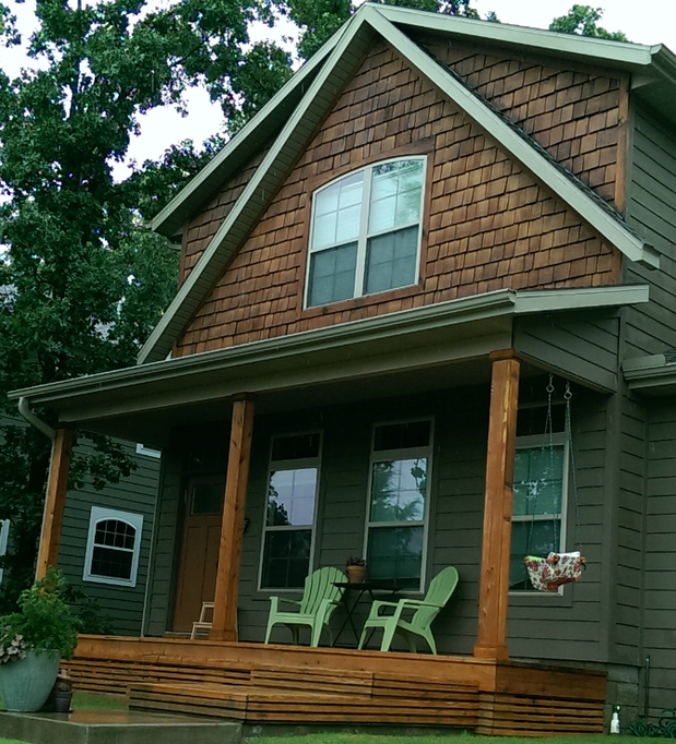 Rustic Home Exterior In Bentonville Wood Porch Glass