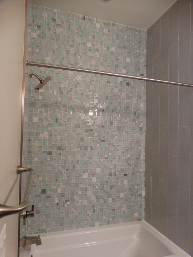 Transitional Bathroom In Las Vegas Gray Wall Paint Gray Tiled Shower Wall By Prostone Group