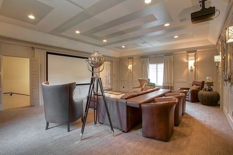 Eclectic Home Theater with ceiling mount movie projector