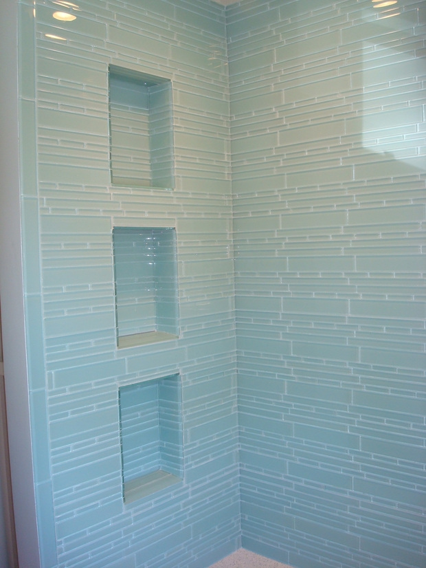 Transitional Bathroom In Rancho Cordova Recessed Shelves Blue Tiles By Chris Brinson Tile