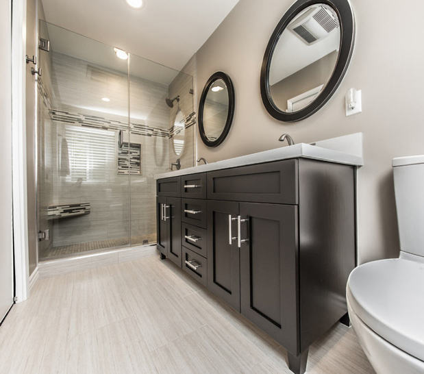 Contemporary Bathroom In Woodland Hills Duel Sink Counter Glass Shower Door By Terraventi