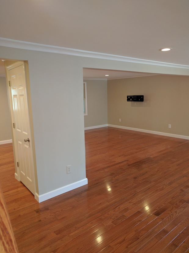 Transitional Basement In Fairfax Grey Painted Walls