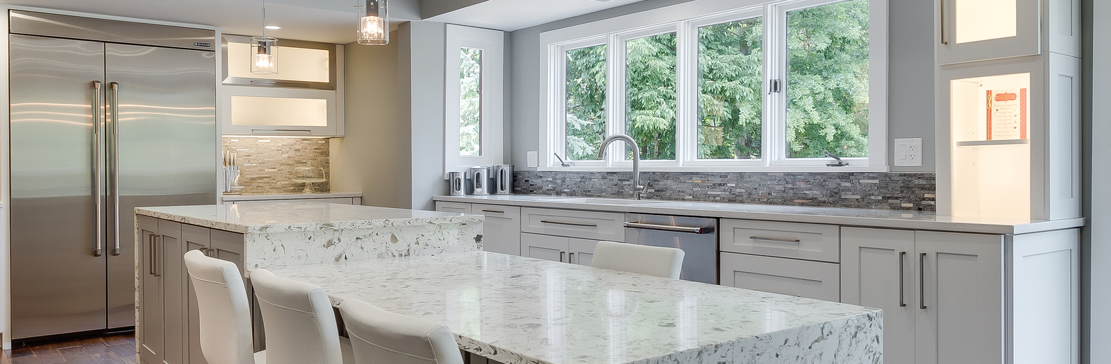 Transitional Kitchen with frosted glass panel cabinets