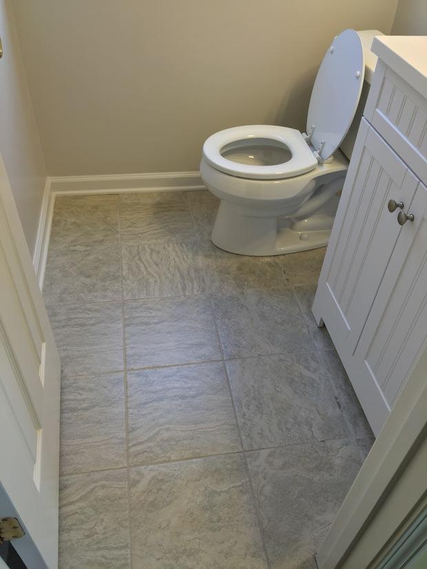 Transitional Bathroom In Stallings White Wood Beadboard Vanity Grey Floor Tile By 5 Star