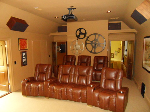 Eclectic Home Theater with solid core wood double doors
