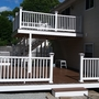 Transitional Deck with brown composite deck boards