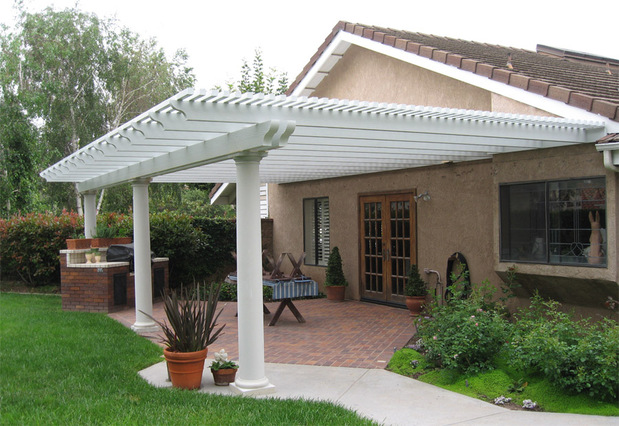 Casual Comfortable Patio In Houston Brown Stucco