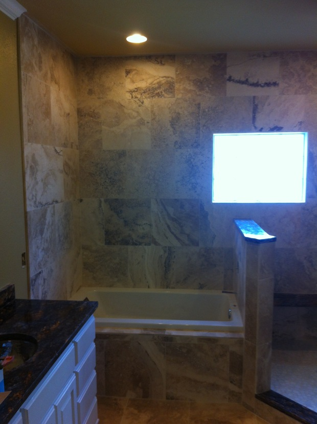 English Bathroom In Amarillo Pony Wall Travertine Tile Walls By Floor Masters And Construction