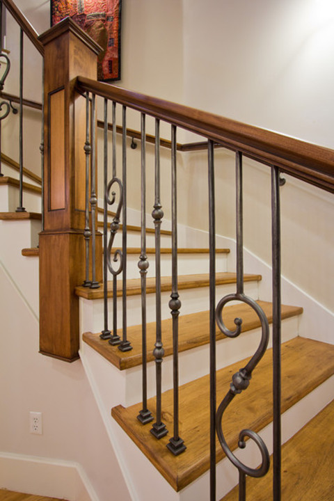 English Country Staircase In Fort Collins Painted White