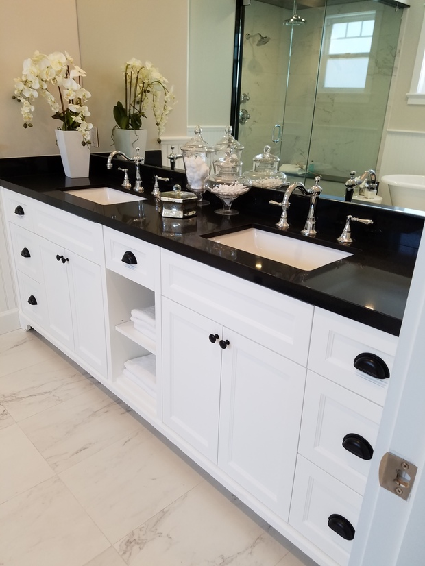 Contemporary bathroom in north hollywood black solid surface counter double sink vanity by Modern bathroom north hollywood