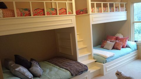 Transitional Kids Room with bunk bed staircase