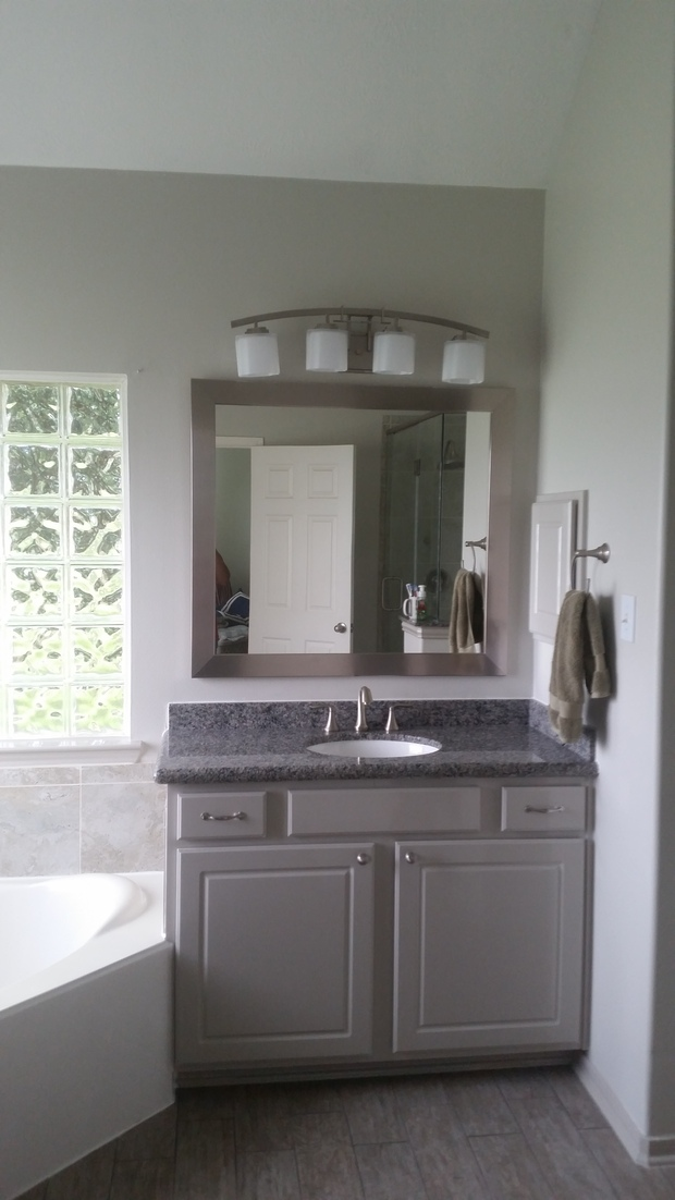 Contemporary Bathroom In Houston Brushed Nickel Faucet Gray Vanity Cabinet By Brito Design