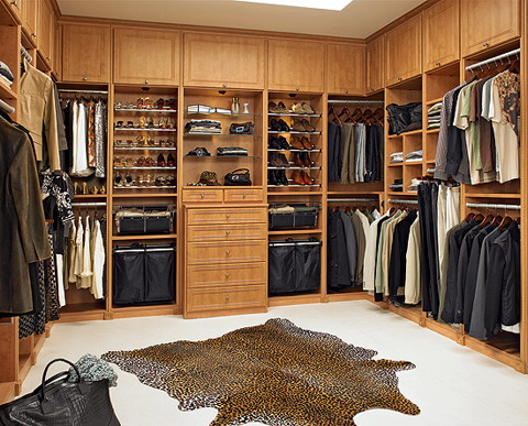 Traditional Closet with built in storage drawers