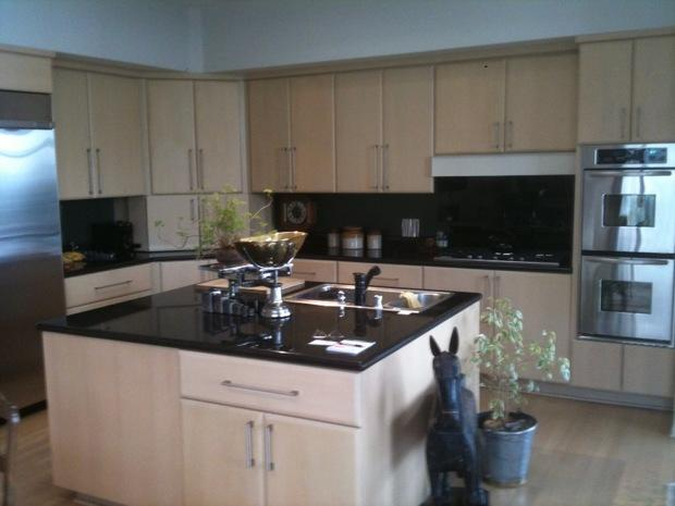 Contemporary Kitchen In Santa Clarita Black Counters Stainless Steel Fridge By Eric Labat