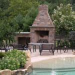Traditional Fireplace with black metal outdoor patio furniture