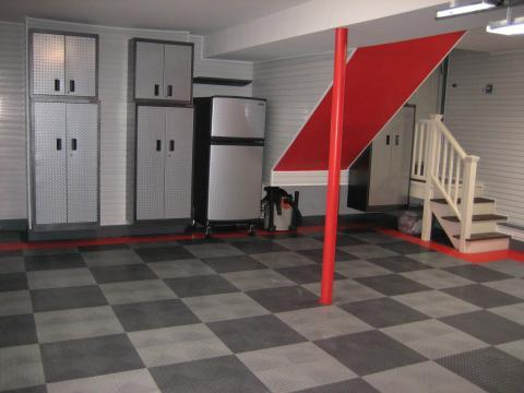Transitional Garage with gray checkered tile garage flooring