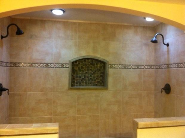 Mediterranean Bathroom In Houston Mosaic Soap Box Niche Mosaic Pattern Border By Texas Design