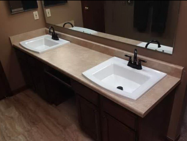 Contemporary Bathroom In Indianapolis Over Mount Sinks Duel Sink Counter By Distinct Home