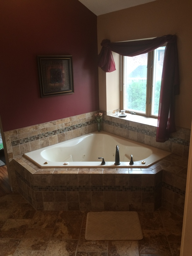 English bathroom in wonder lake brown painted wall spa tub by mike 39 s inside job - English bathroom design ...