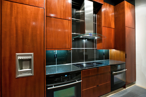 Modern kitchen in castle rock second oven mahogony for Castle kitchen cabinets