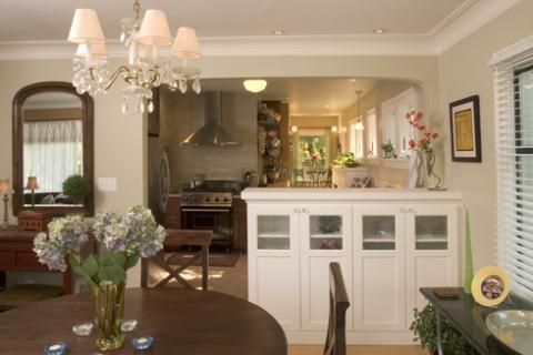 Traditional Dining Room with custom cabinet storage unit