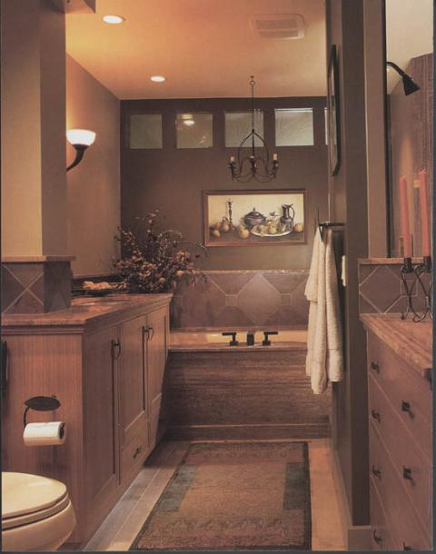Traditional Master Bathroom with black metal candle stick holders