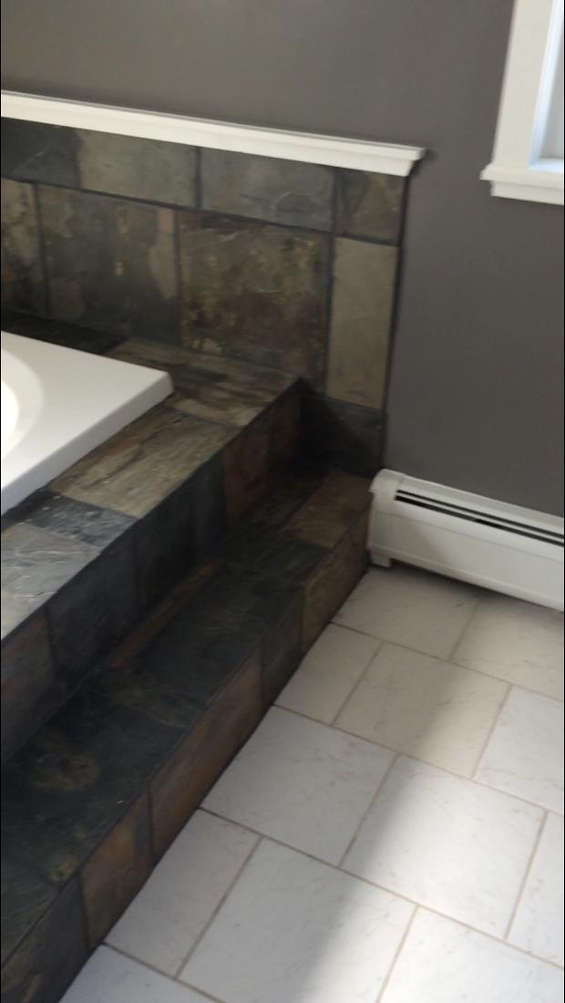 Transitional Bathroom In Dalton Tile Floor Slate Tile Tub