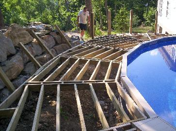 Deck around swiming pool pictures and photos for How to build a wood deck around a round pool